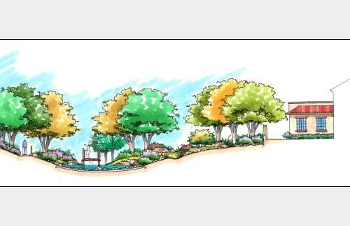 一张园林手绘效果图