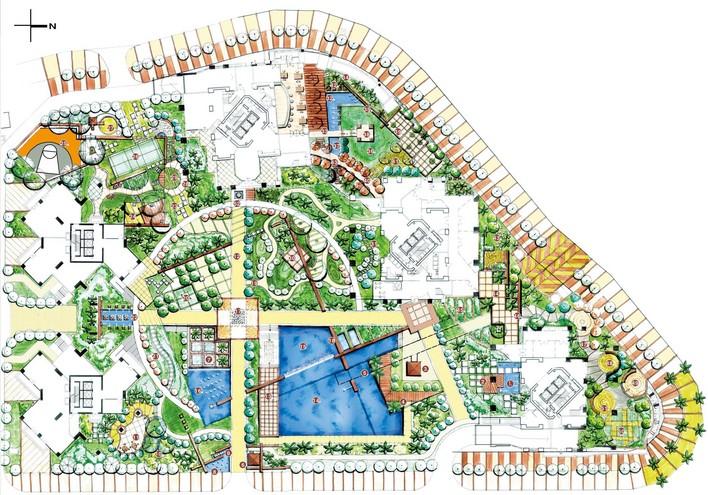 某别墅景观带绿化景观设计平面图总图 小区景观设计总图及各景观块