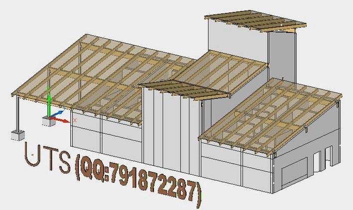 某单檐周围廊仿古木结构歇山大殿建筑施工图 某地园林古建长廊及转角