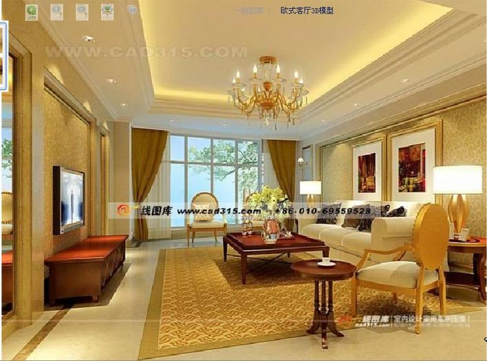 豪华的欧式别墅客厅,3d9.0渲染cad纯手工电脑画