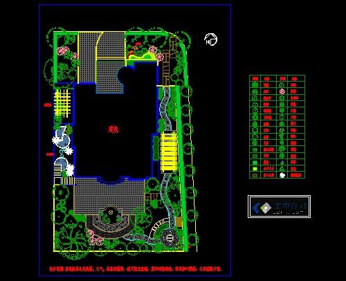 该图纸为某别墅庭院景观设计方案图,包括cad平面图和意向图