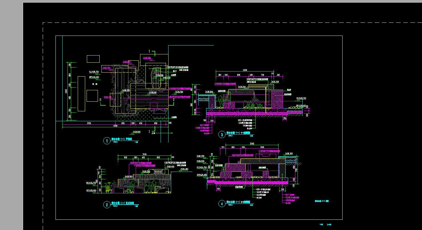 12m跌水景观全套结构施工图 技施阶段景观水利工程水景景墙结构钢筋图