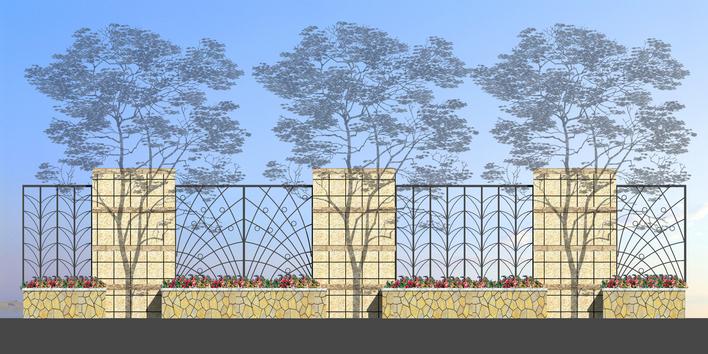 围墙立面图