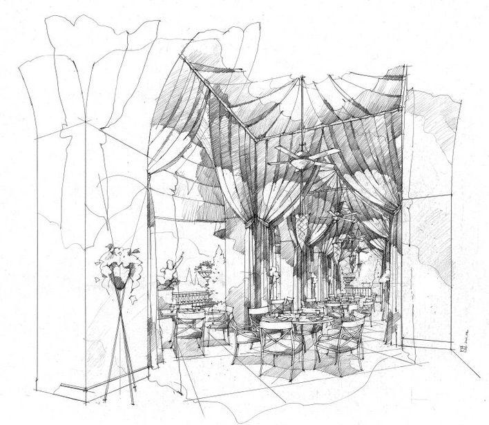 一套非常好的室内手绘效果图,线描形式,透视准确,非常有参考