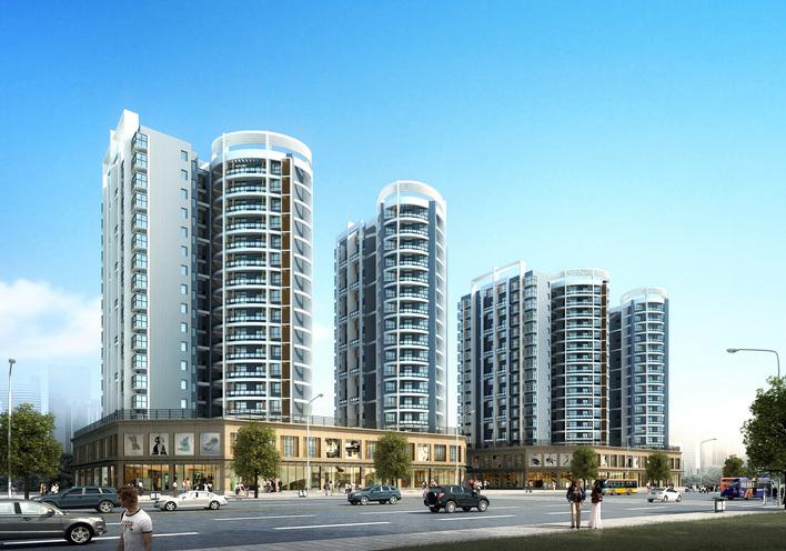 现代风格高层住宅沿街效果图 高清图片