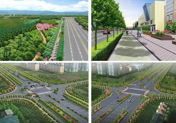 园林设计图 园林绿化及施工 道路及高速公路绿化设计图 道路绿化效果
