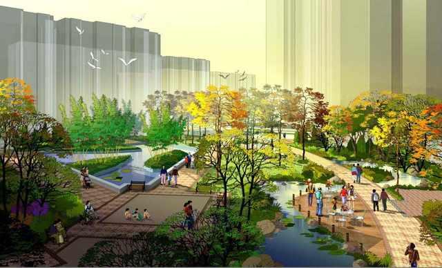 园林及建筑小区规划效果图制作风暴7 某地7层底商住宅楼沿街商业效果