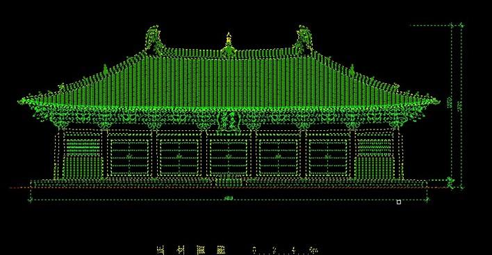 山西五台山佛光寺大殿精细cad测绘图