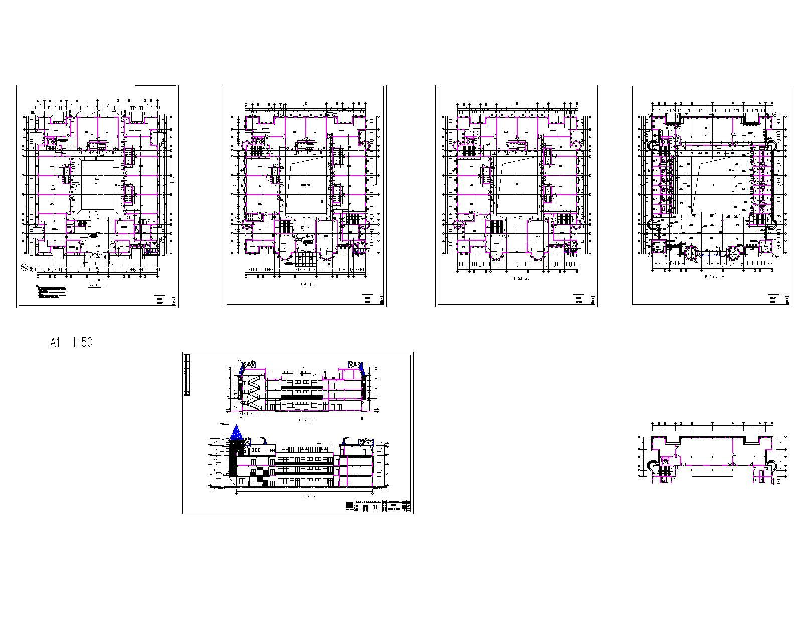 幼儿园的平面图,包括平面布置图,弱电布置图. .