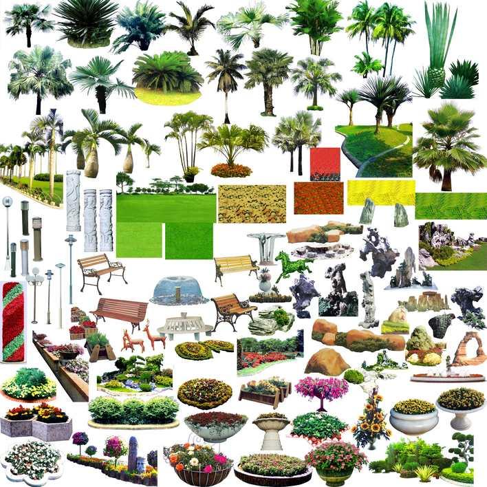 简介:ps常用的园林素材 相关专题:ps景观素材景观小品ps素材广场平面