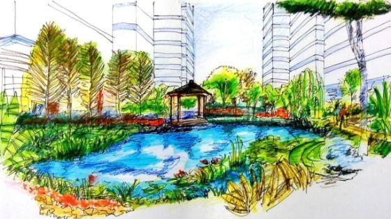 园林景观广场手绘,自己临摹的