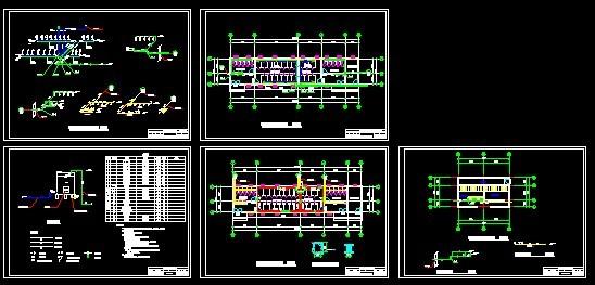 某大学食堂和淋浴室三层建筑给排水工程平面图