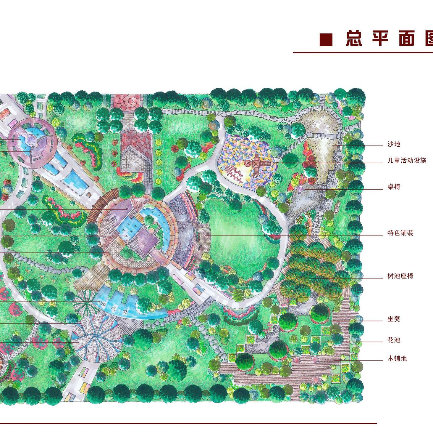 临安60m*80m的公园景观规划设计图