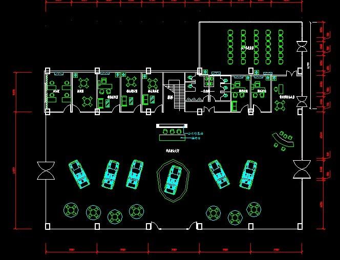 一套汽车4s店的基础建设及平面布置图