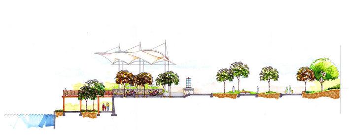 图纸 园林设计图  某河道景观    高清手绘   相关专题:河道景观 河道