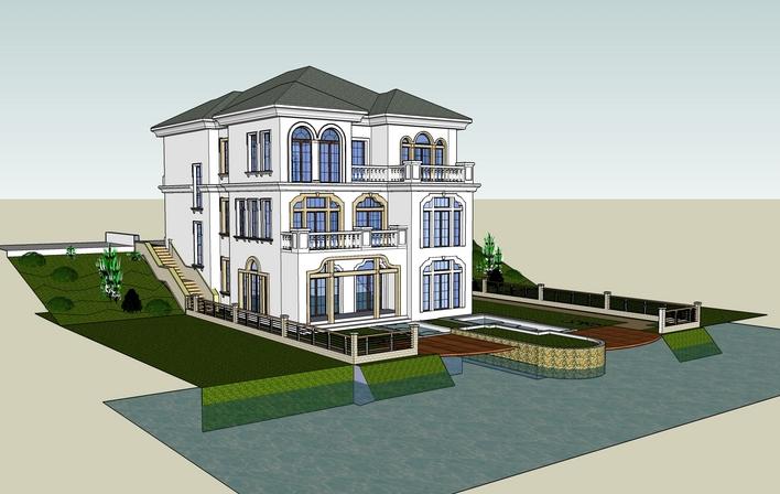 亲水别墅 法式装修效果图 独栋别墅外立面效果图 欧式别墅外立面效果