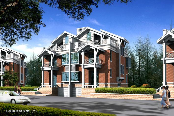 中式风格的三层别墅室内装修cad施工图(含效果图) 南通地区某现代简欧