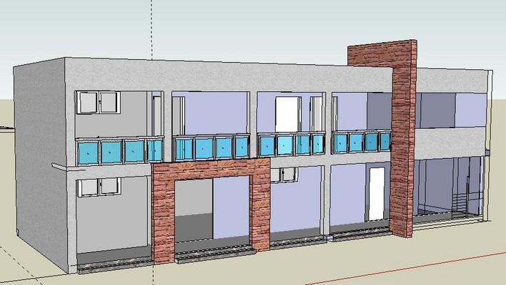 非常详细的小型二层办公楼高清图片