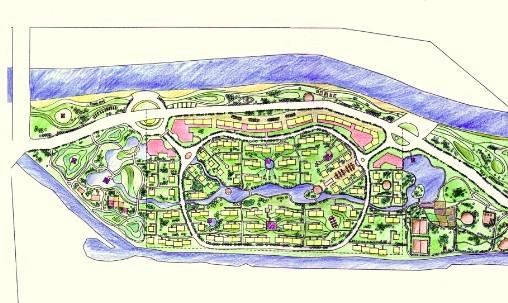 小区手绘总平面图 手绘别墅规划总平面图 别墅手绘规划总平面图 小区
