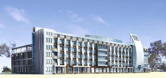 五层多层现代办公楼方案带效果图 多层综合楼(旅馆,办公楼) 多层办公