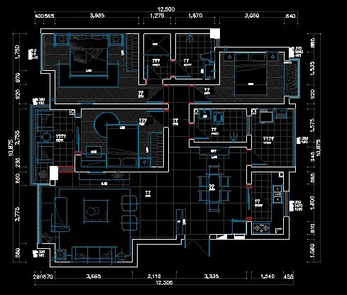 三室两厅室内设计_cad图纸下载-土木在线