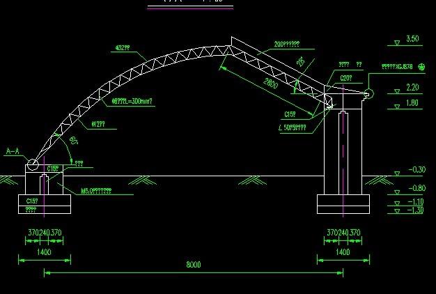 8米跨度半坡日光温室大棚截面,平面图等   相关专题:日光温室大棚设计