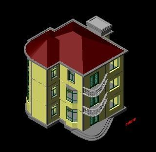 CAD小别墅立体图