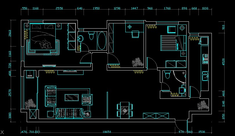 【三室两厅】三室两厅平面图_cad图纸下载_土木在线图片