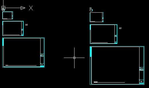 a4~a1纸张打印比例图框