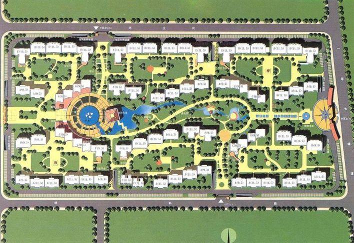 居住区入口手绘平面图