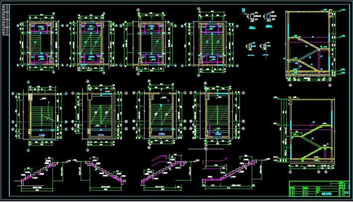 图纸 建筑结构图  某高层楼梯大样图             某高层建筑楼梯大样