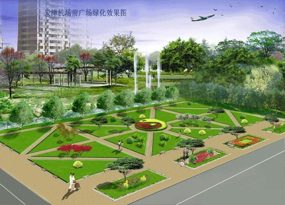 图纸 园林设计图 园林景观效果图 园林景观立面效果图 机场小广场效果