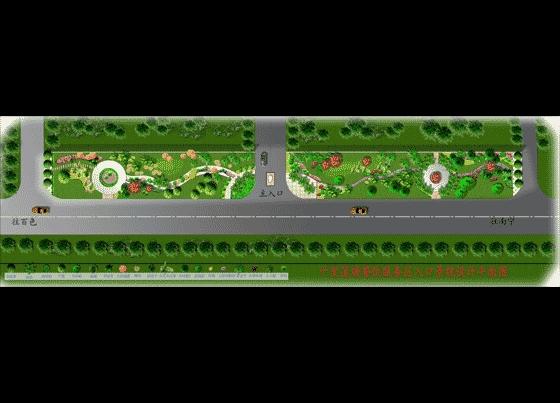 某餐饮服务区入口景观设计平面图