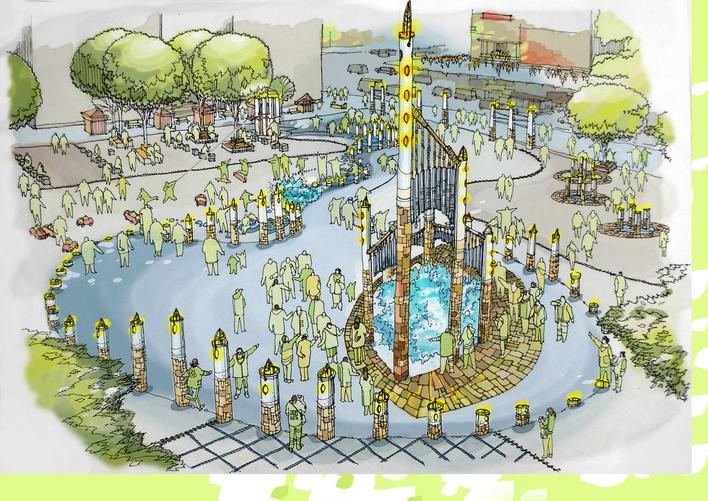 广场手绘平面图 手绘广场平面图