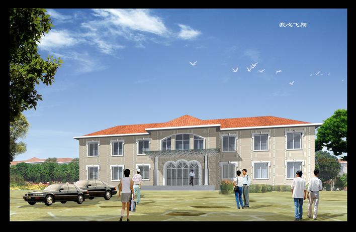 二层坡屋面小办公楼图纸 高清图片