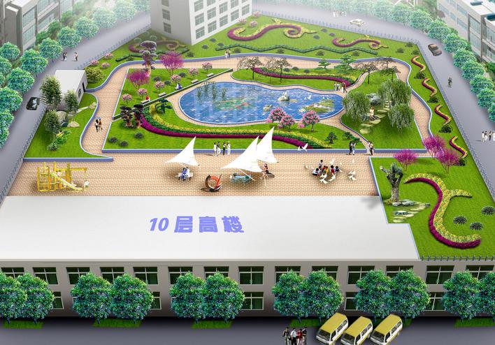 超市屋顶上的花园,面积1500平方米,设计简洁大方,效果图色彩明快.图片