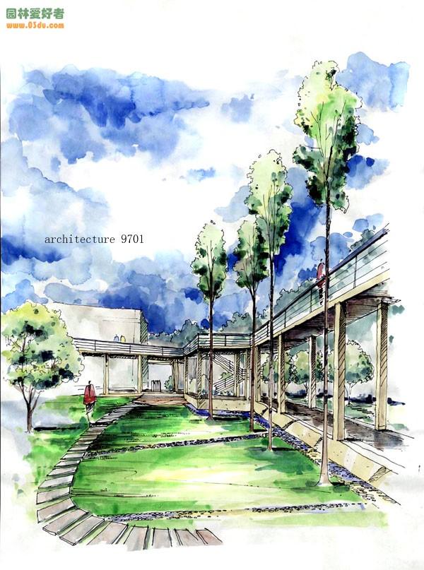 两点透视校园景观手绘图