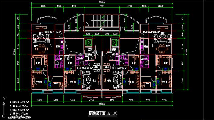 高层住宅平面图cad_高层住宅平面图_cad图纸下载-土木在线