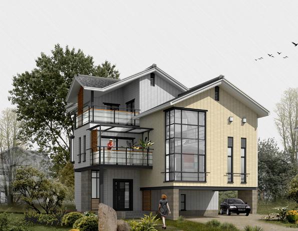 豪华的别墅完整施工图及数十张效果图