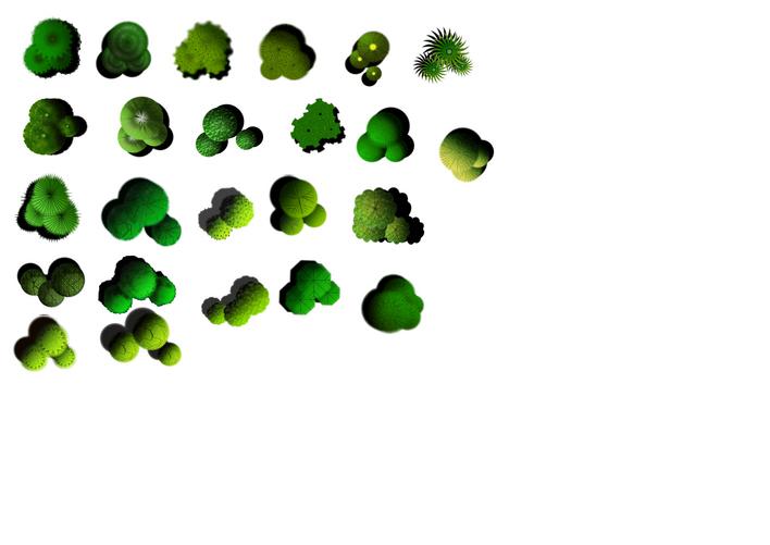 ps手绘园林花卉平面图素材