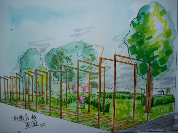 图纸 园林设计图  公园小景效果图    公园花架样式,及植物配置手绘效