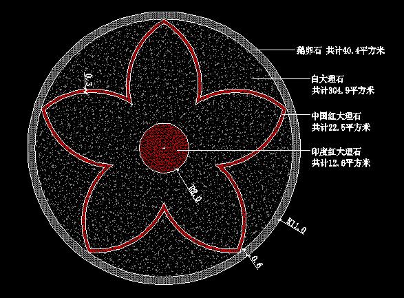 圆形广场铺装设计 景观铺装图  所属分类:小品设计图 小区cad平面图
