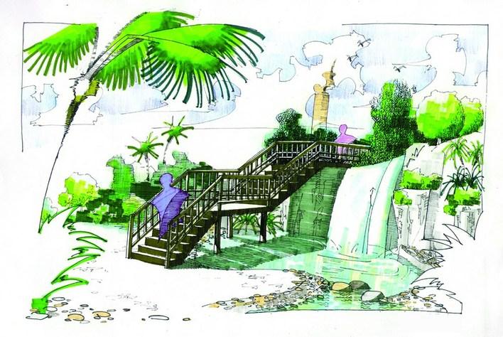 图纸 园林设计图 园林景观效果图 园林景观手绘图 手绘图纸第二波