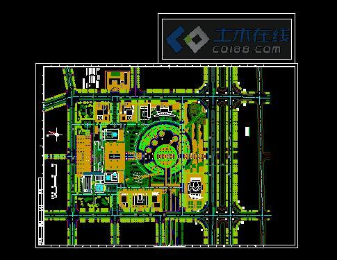 行政办公楼绿化总平面图