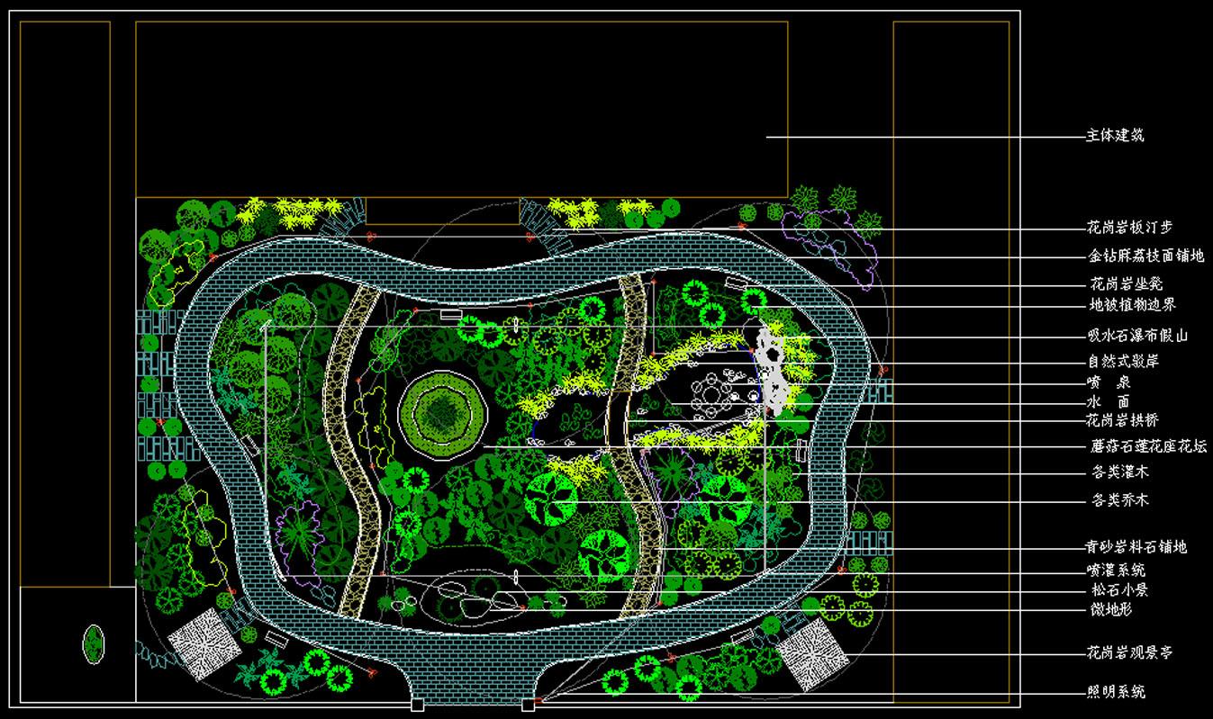 某会馆内庭景观规划总平面图