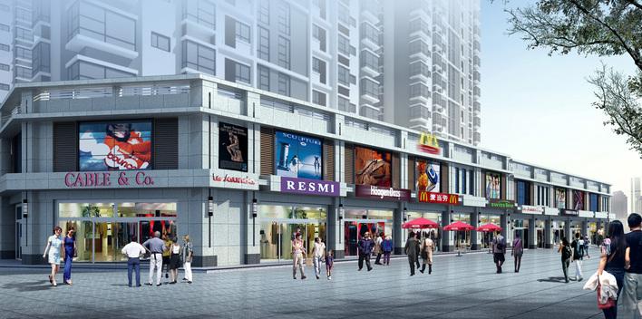 商业楼效果图 某乡镇二层框架沿街商住楼建筑平面高清图片