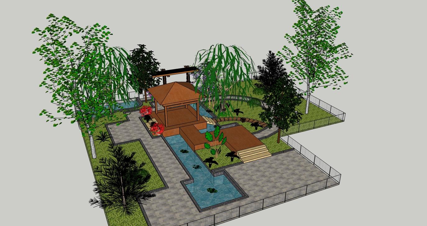 庭院景观路灯手绘效果图