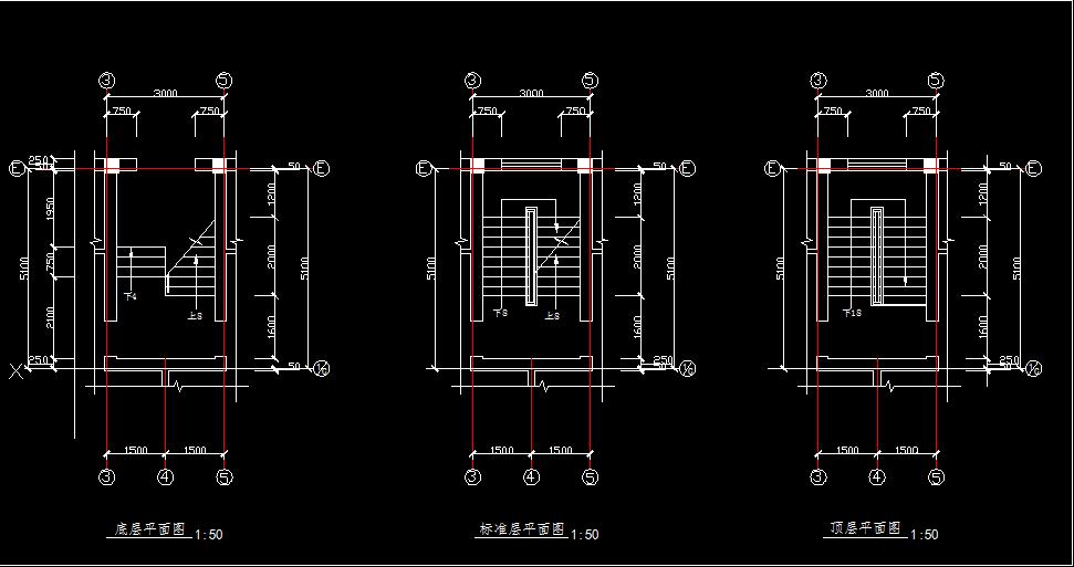 首层顶层楼梯画法_楼梯间平面图