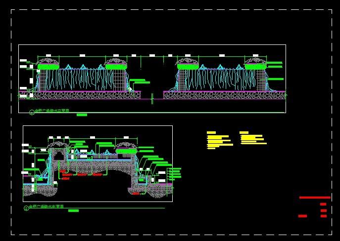 某跌水标准图施工详图设计方案图纸 某小区欧式水景喷泉跌水全套施工
