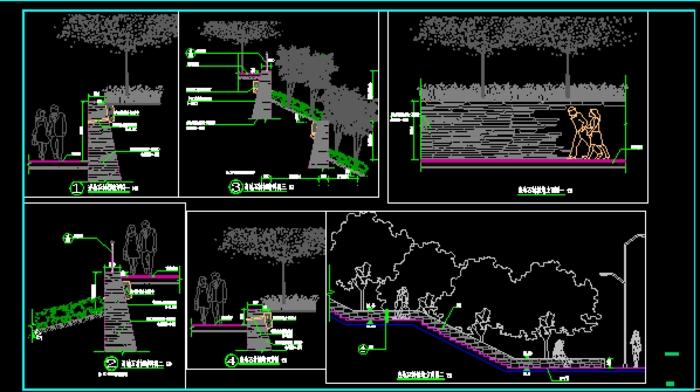 自行车道,小游园道,排水沟,挡土墙做法套图 几种驳岸做法详图,花池